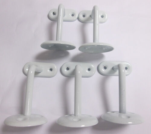 WHITE STAIRS HAND RAIL WALL MOUNTED BRACKET 3 HANDRAIL BANNISTER 75mm X 10 PACK