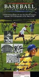 Vin-Scully-Jsa-Coa-Hand-Signed-By-8-Ken-Burns-Baseball-Booklet-Cert-Autograph