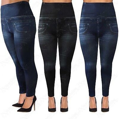 New Ladies Denim Jeggings Womens Pocket Jeans Look Print Leggings Plus Size 8-18