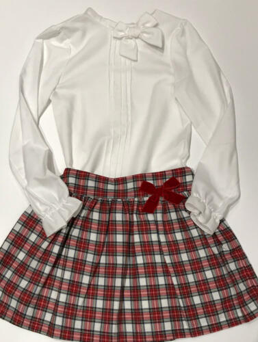 Limited Spanish Alber Bow Neck Blouse with White Tartan Skirt