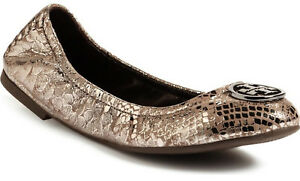 0d2e91ecc07e NIB TORY BURCH Heidi Leather Logo Ballet Flat Shoes US 9.5 Pewter ...
