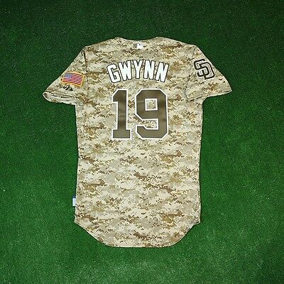 promo code 40aa5 44eb0 TONY GWYNN San Diego Padres AUTHENTIC ON-FIELD USMC Camo Cool Base Jersey |  eBay