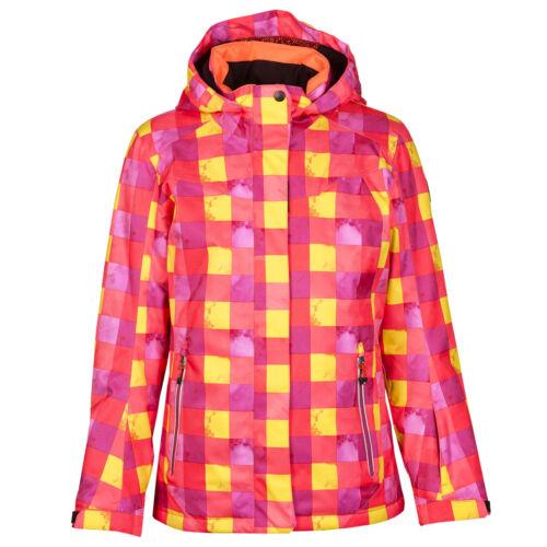 Killtec Aven waterproof ski snowboard Coat Pink Coral Yellow Checker