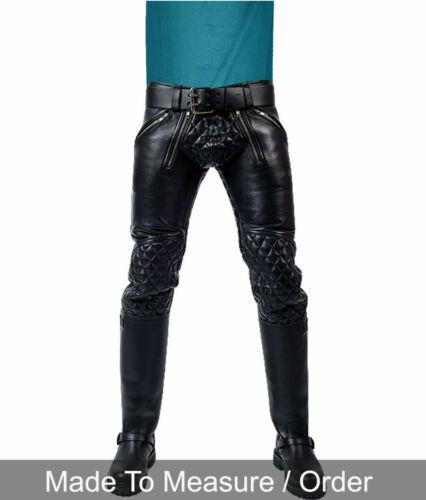 Men/'s Real Leather Pants Double Zips Pants Interest BLUF Bikers Pants