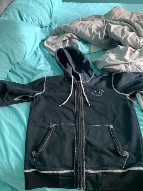 True Religion M/M Black Hoodie with Big T Horseshoe