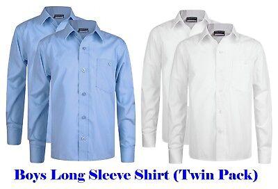 Girls Open Neck Revere Collar Blouse Twin x2 Long Sleeves School Uniform RLT