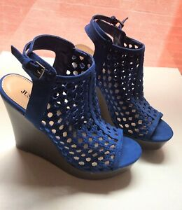 womens wedge blue suede sandal heels open toe caged