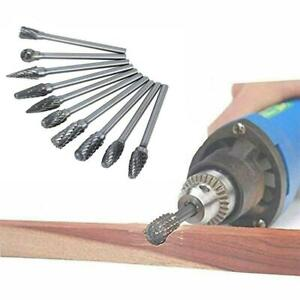 10Pcs Diamond Rotary Burr Rasp Drill Bits Tungsten Die Grinding Head 6mm Shank