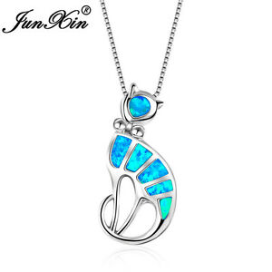 Elegant-Cat-With-Bow-Blue-Fire-Opal-Pendant-Necklace-925-Silver-Jewelry-Gifts