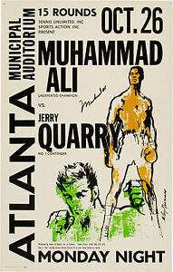 RARE VINTAGE POSTER PRINT MUHAMMAD ALI V JERRY QUARRY GET YOUR/'S NOW!