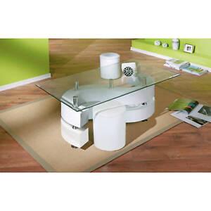couchtisch glastisch wohnzimmertisch wohnzimmer tisch glas 2 hocker wei neu ebay. Black Bedroom Furniture Sets. Home Design Ideas
