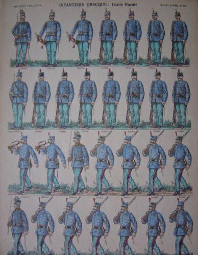 Image d/'épinal numéro 904  Infanterie grecque Garde Royale Soldat Clairon Grec