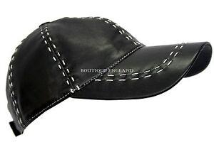 Image is loading BASEBALL-Black-White-Stitches-Unisex-Real-Soft-Leather- 3989a6e3ae91