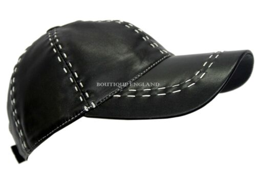 BASEBALL Black White Stitches Unisex Real Soft Leather Hip-Hop Cap Hat
