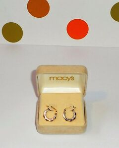 Macy S 14k Solid Gold Small Hoop Tri Gold Earrings Yellow White
