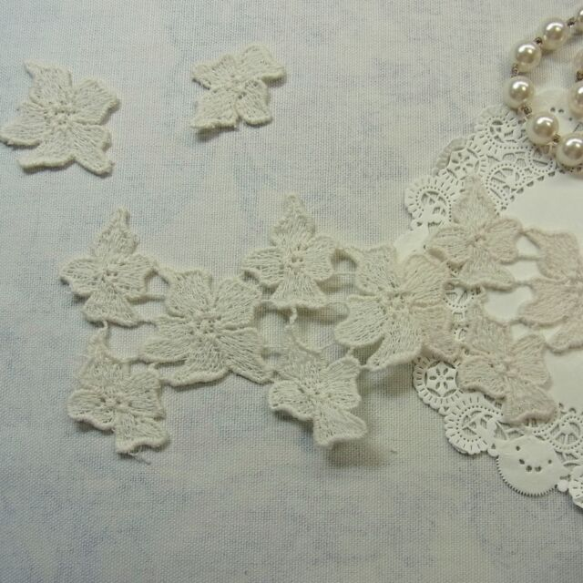 100% Cotton Antique Style Embroidery Crochet Motive Lace Trim  Lovely Flower 1yd
