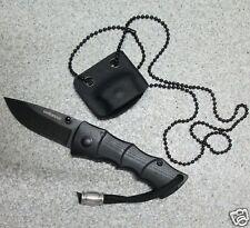 Einhandmesser Messer Neck Knife mit Kydexscheide und Kugelkette schwarz (8633)