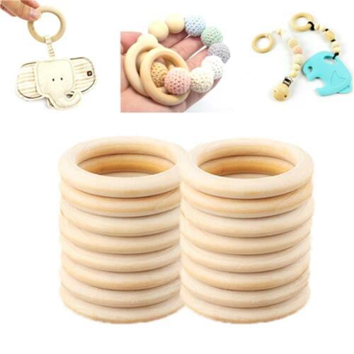 10pcs 70mm Baby Wooden Teething Rings Necklace Bracelet DIY Crafts Natural UK