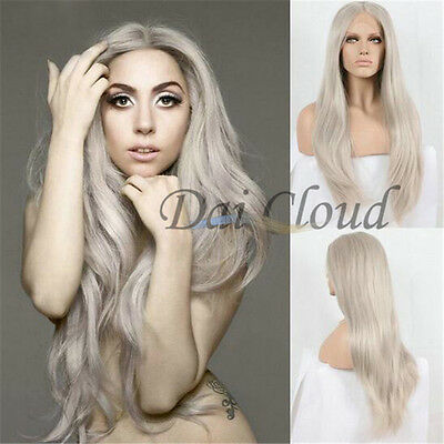 New Fashion Women Light Grey Long Straight Lace Front Wig Cosplay Hair Full Wigs