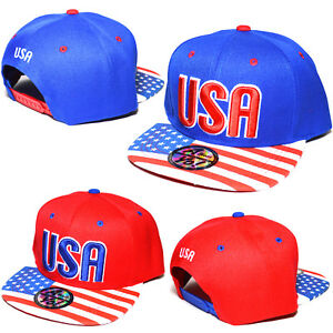 53b123437a6 USA American Flag Hat Stars Stripes Snapback Flat Bill Baseball Cap ...