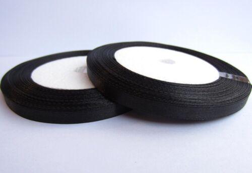 1 Rouleau RUBAN SATIN Noir 6mm Rouleau de 22m environ Pour vos creation 6 mm