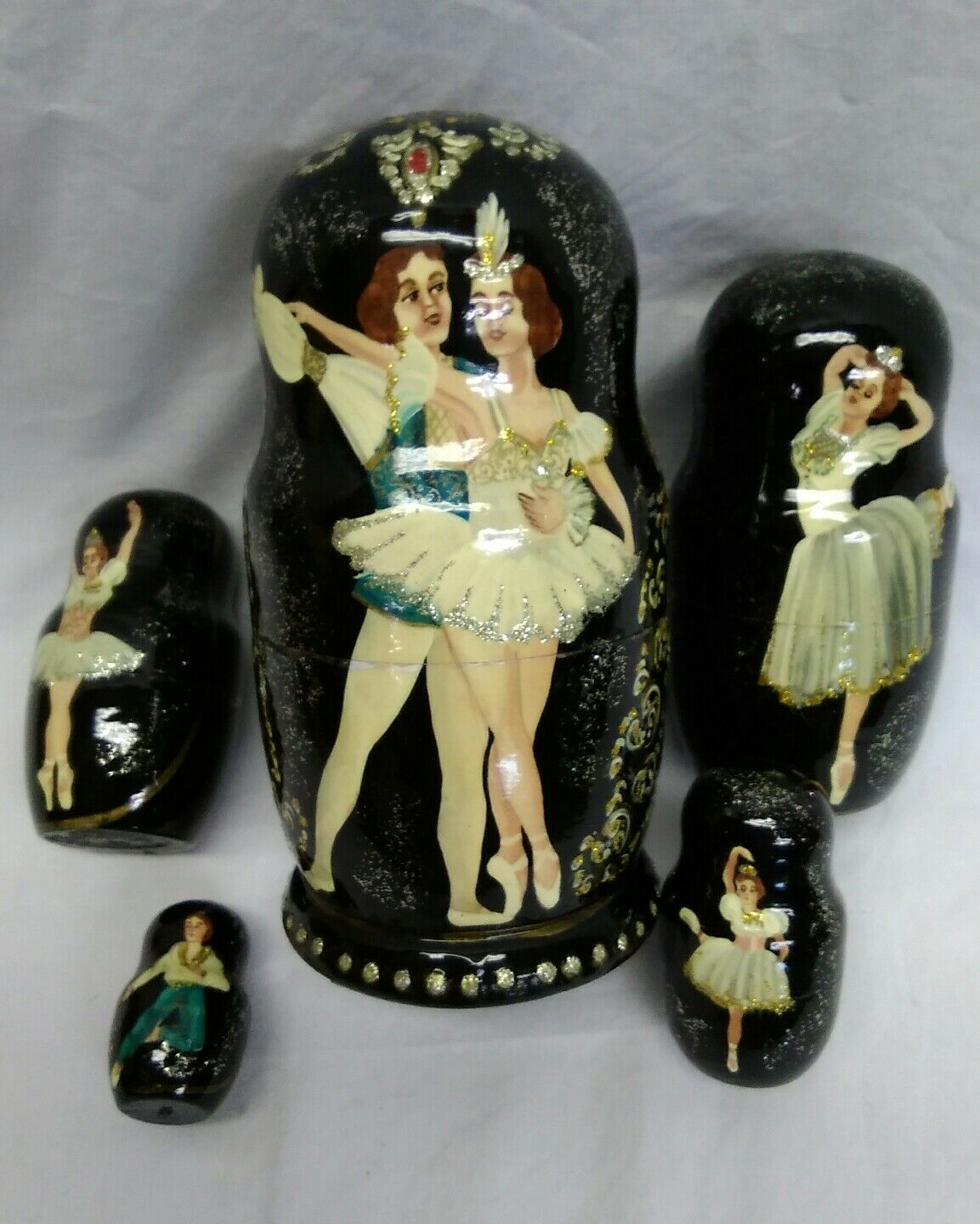 Nesting Wooden Dolls BALLERINA Handmade 5 Doll Set (9 pieces) Signed Rare  OOAK