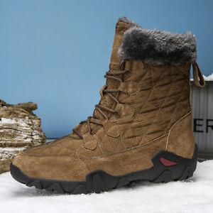 Men's Waterproof Outdoor Snow Boots Fur Lined Winter Warm Sports High Top  Boots   eBay
