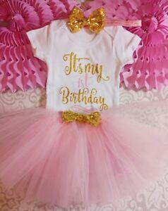 Wondrous Baby Girl First 1St Birthday Outfit Tutu Headband Cake Smash Photo Funny Birthday Cards Online Aeocydamsfinfo