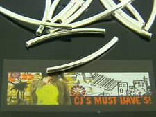 ✿ 50 Plata Brillante 35mm X 2mm Latón espaciador granos encantos de TUBO CURVO joyas ✿