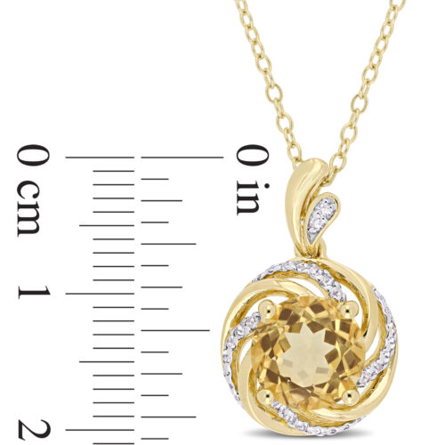 Sterling Silver Citrine White Topaz Diamond Swirl Halo Necklace