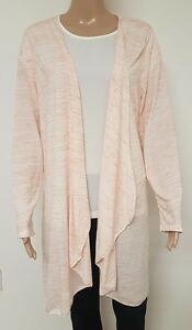 Ladies Size 26 Waterfall Cardigan Coral Peach White Womens Long ...