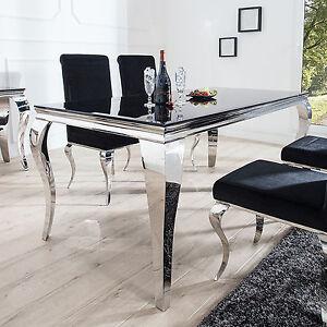 Esstisch modern  Esstisch MODERN BAROCK 200 cm Tisch Edelstahl mit Opalglas Platte ...