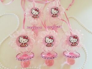 Details about 12 Hello Kitty Pink Pacifier Necklaces Baby Shower Game  Favors Prizes Girl Decor
