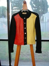 Vintage 1960's BANFF Wool Leather Black Red Yellow JACKET SWEATER S Lot 429