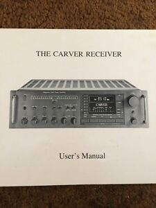 the original carver receiver vintage owners manual a must have rh ebay com Carver Av Bob Carver