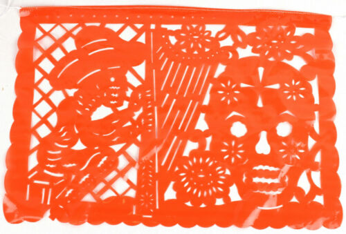 Set of three Day Of The Dead Mexican papel picado banner bunting plastic 3