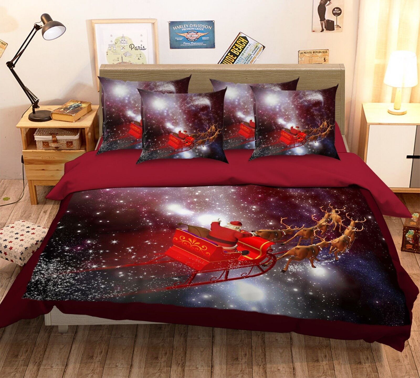 3D Starry Christmas 8 Bed Pillowcases Quilt Duvet Cover Set Single Queen King CA