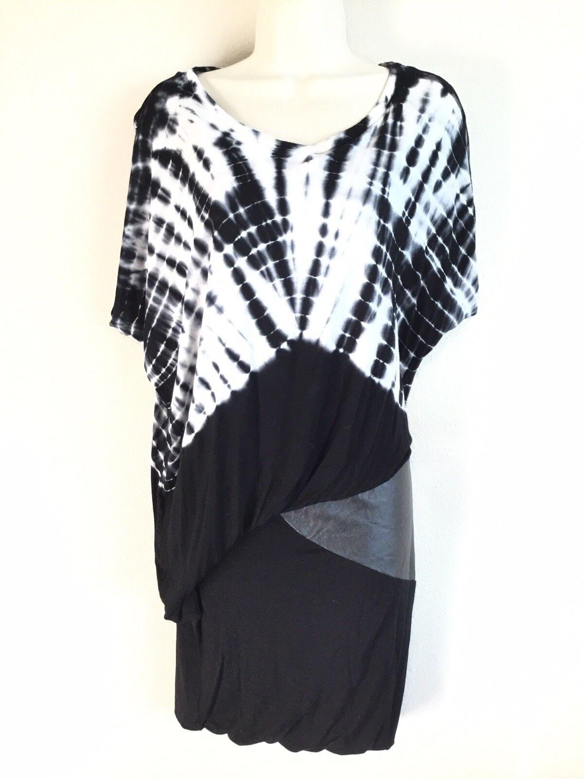 YOUNG FABULOUS & BROKE schwarz Weiß Tie Dye Dolman Sleeve Soft Knit Leather Dress