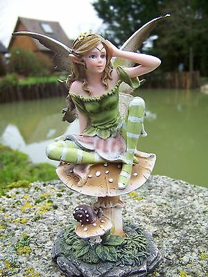 15397 Figurine Statuette Fee Elfe Fairy Champignon Heroic Fantasy Elaborato Finemente