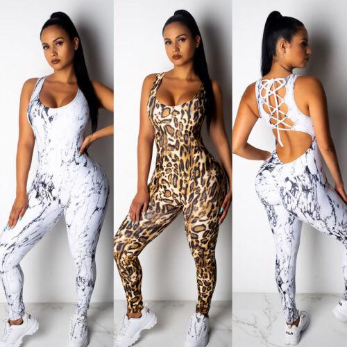 UK Women Sport Yoga Gym Leopard Romper Suit Fitness Workout Jumpsuit Bodysuit