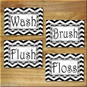 Black and white chevron zigzag print wall art bathroom for Black and white bathroom wall decor