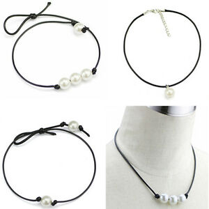 Women-Single-Pearl-beaded-PENDANT-Choker-Necklace-Black-Leather-Cord-Pendant