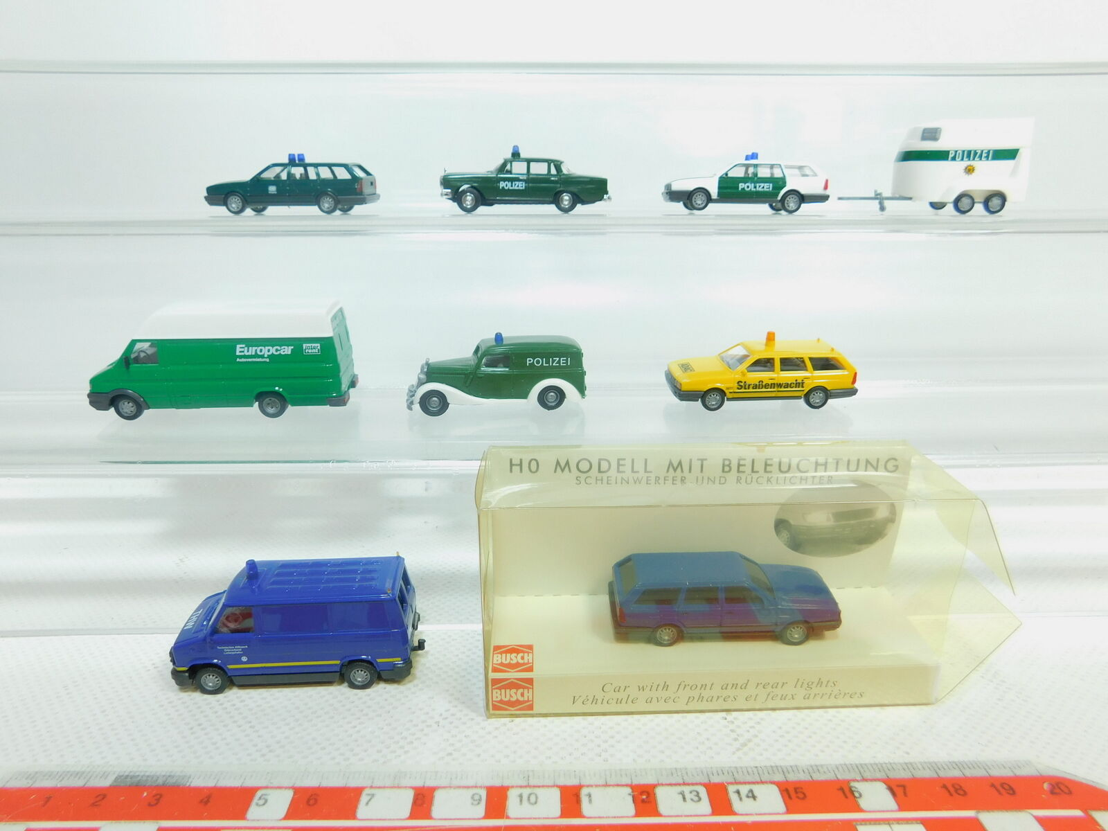 Bn158-0, 5x busch h0 1 87 modelo  Fiat THW + mb VW remolque de policía + ADAC