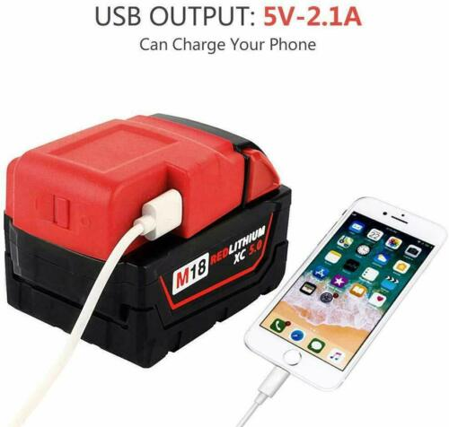 2Pack USB Charger For Milwaukee 49-24-2371 M18 18V Battery Adapter Cordless USA
