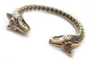 Viking Wolf's Head Men's Bangle Strong Bronze Gothic Jewelry - New