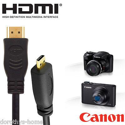 Liberale Canon Powershot N100, Sx700, G1, Sx600 Fotocamera Hdmi Micro Monitor Tv Cavo 5m-mostra Il Titolo Originale Alta Qualità