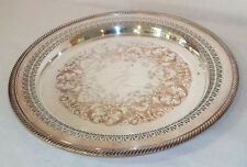 Vintage Wm. Rogers Round Pierced Silverplate Serving Tray #160