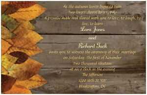 30-50-80-100-Rustic-FALL-Leaves-6x9-WEDDING-Invitation-Custom-Personalized