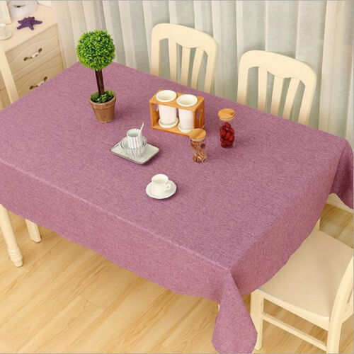 Rectangle Cotton Linen Solid Plain Tablecloth Table Cover Cloth Home Decoration