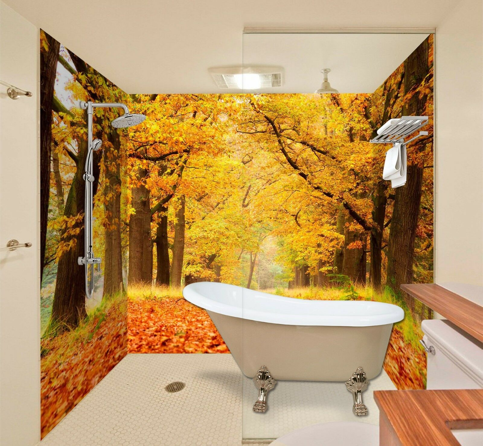 3D Autumn Forest 577  WallPaper Bathroom Print Decal Wall Deco AJ WALL CA Carly